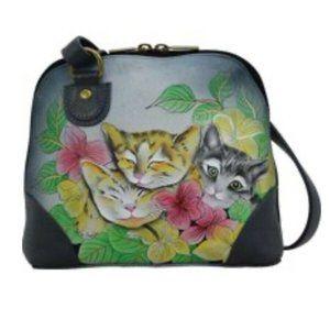 Anna by Anuschuka Kitten Leather Crossbody Handbag